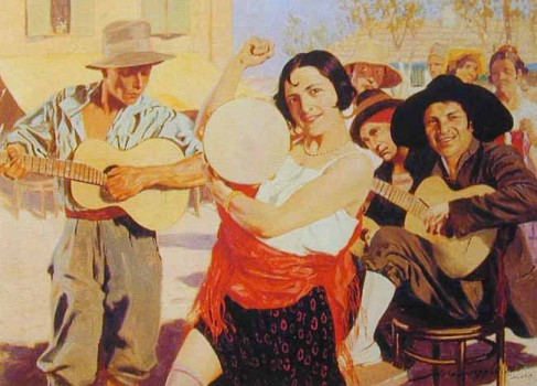 Wygrzywalski, Feliks Michal (1875-1944) - Gipsy Woman Dancing, two men playing guitar